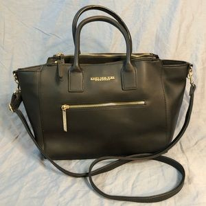 Jones New York Black crossbody hand bag with gold accents